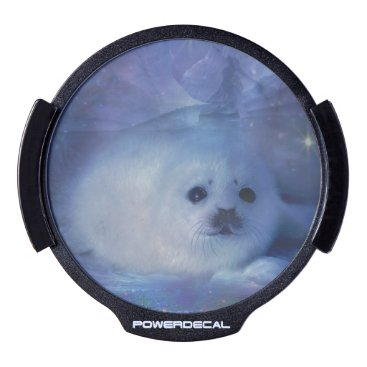 Beach Themed Baby Seal on Ice - Beautiful Seascape LED Window Decal