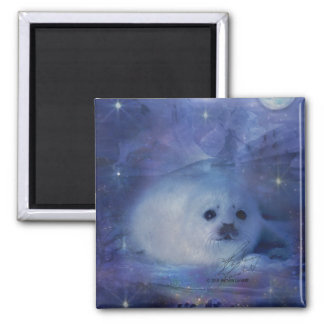 Baby Seal on Ice - Beautiful Seascape Magnet