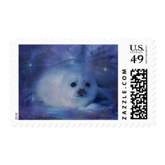 Baby Seal on Ice - Beautiful Seascape Postage