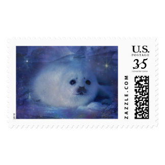 Baby Seal on Ice - Beautiful Seascape Postage Stamp