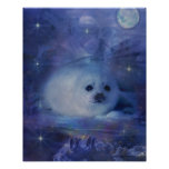 Baby Seal on Ice - Beautiful Seascape Poster