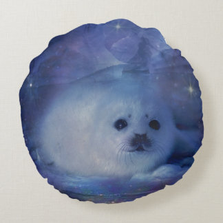 Baby Seal on Ice - Beautiful Seascape Round Pillow