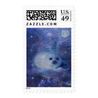 Baby Seal on Ice - Beautiful Seascape Stamp