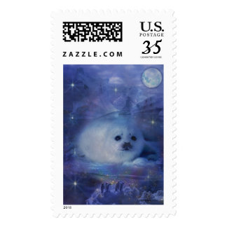 Baby Seal on Ice - Beautiful Seascape Stamps