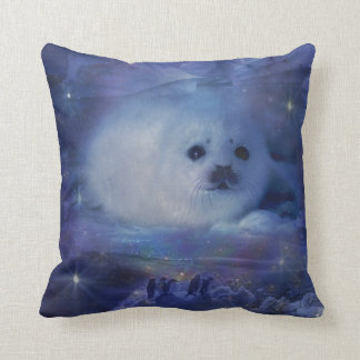 Baby Seal on Ice - Beautiful Seascape Throw Pillow
