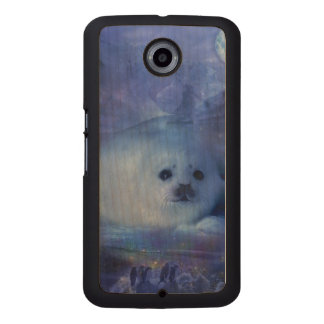 Baby Seal on Ice - Beautiful Seascape Wood Phone Case
