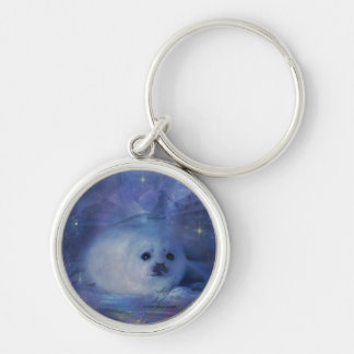 Baby Seal on Ice Silver-Colored Round Keychain