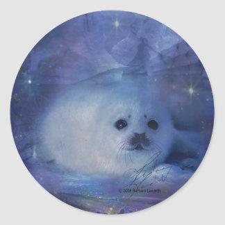 Baby Seal on Ice Classic Round Sticker