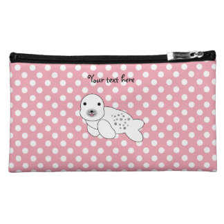 Baby seal pink and white polka dots cosmetic bag