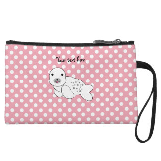 Baby seal pink and white polka dots wristlet