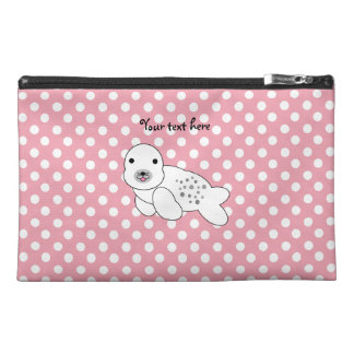 Baby seal pink and white polka dots travel accessories bags