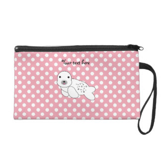 Baby seal pink and white polka dots wristlet purse