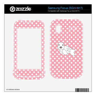 Baby seal pink and white polka dots decal for samsung focus