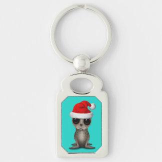 Baby Seal Wearing a Santa Hat Keychain