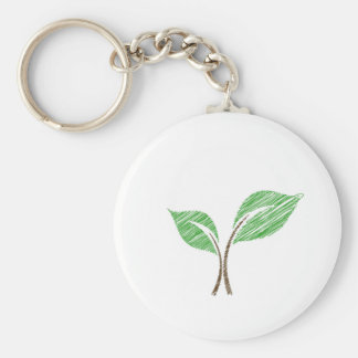 Baby seedling sketched basic round button keychain