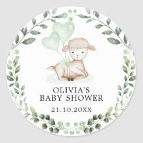 Baby Sheep Little Lamb Greenery Eucalyptus Shower Classic Round Sticker