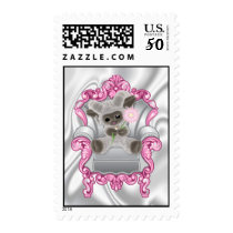 Baby Sheep with Pink Flower  Postage