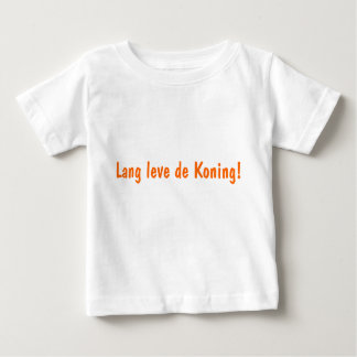 baby shirt with orange text long leve the Koning'