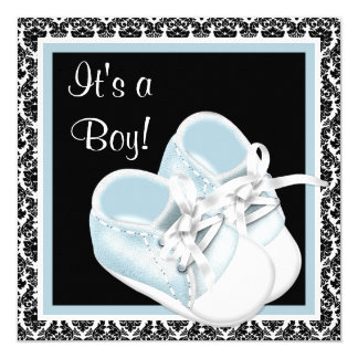 Baby Shoes Black and Blue Damask Baby Boy Shower 5.25x5.25 Square Paper Invitation Card