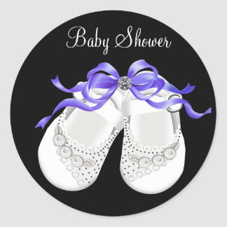 Baby Shoes Black Purple Baby Girl Shower Stickers