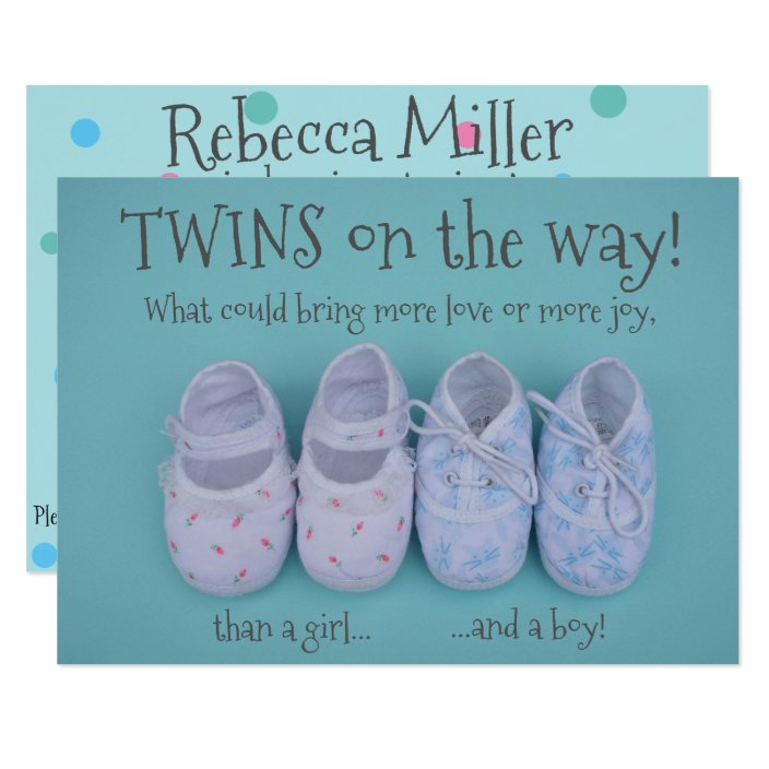 Baby Shoes Boy And Girl Twins Baby Shower Invite Zazzle Com