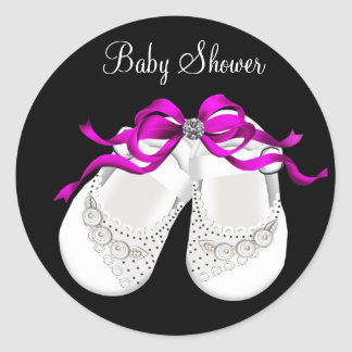 Baby Shoes Hot Pink Black Girl Baby Shower Sticker
