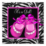 Baby Shoes Hot Pink Zebra Baby Girl Shower Personalized Announcements