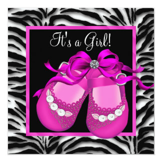 """Baby Shoes Hot Pink Zebra Baby Girl Shower 5.25"""" Square Invitation Card"""