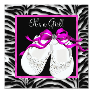 Baby Shoes Hot Pink Zebra Baby Girl Shower Personalized Invite