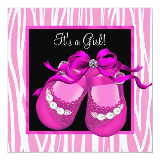 Baby Shoes Hot Pink Zebra Baby Girl Shower Invite