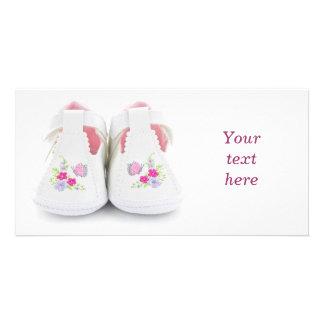Baby shoes custom photo card