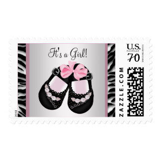 Baby Shoes Pink Zebra Baby Shower Postage Stamps