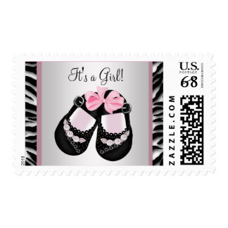 Baby Shoes Pink Zebra Baby Shower Stamp