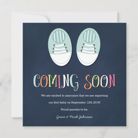 eadb075faa485 Baby Shoes Pregnancy Announcement in Navy | Zazzle.com