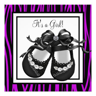 Baby Shoes Purple Zebra Baby Girl Shower Personalized Announcements