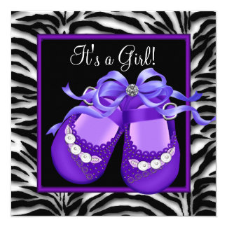 Baby Shoes Purple Zebra Baby Girl Shower 5.25x5.25 Square Paper Invitation Card