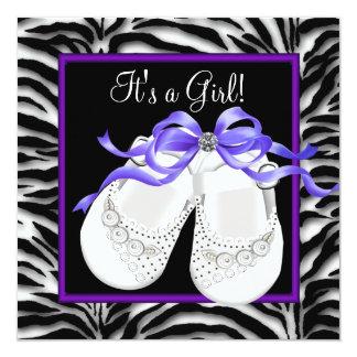 Baby Shoes Purple Zebra Baby Girl Shower Custom Announcements
