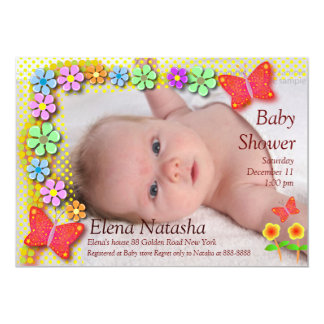"Baby shower 001 Butterfly 5"" X 7"" Invitation Card"