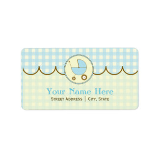 Baby Shower Address Label- Blue Gingham & Brown Label