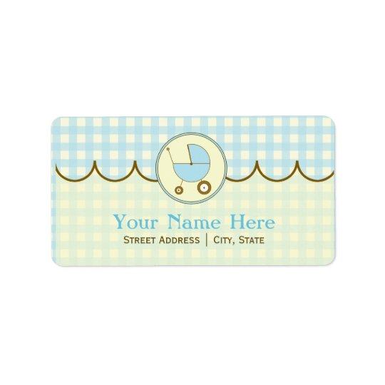Baby Shower Address Label- Blue Gingham & Brown Label