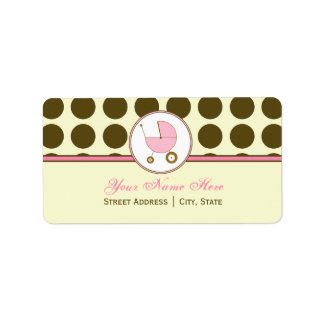 Baby Shower Address Label- Brown Polka Dot & Pink Label