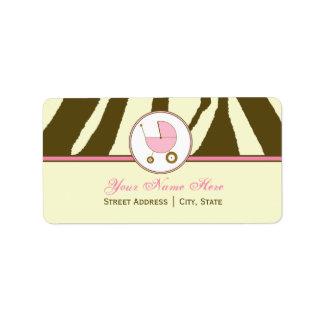 Baby Shower Address Label- Brown Zebra Print Pink Label