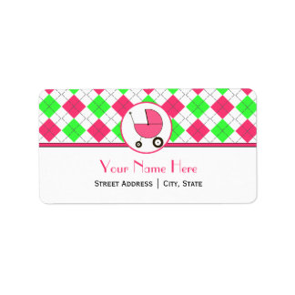 Baby Shower Address Label- Hot Pink & Green Argyle Label