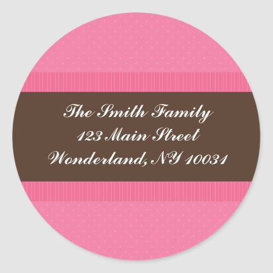 Baby Shower Address Label - Pink and Brown