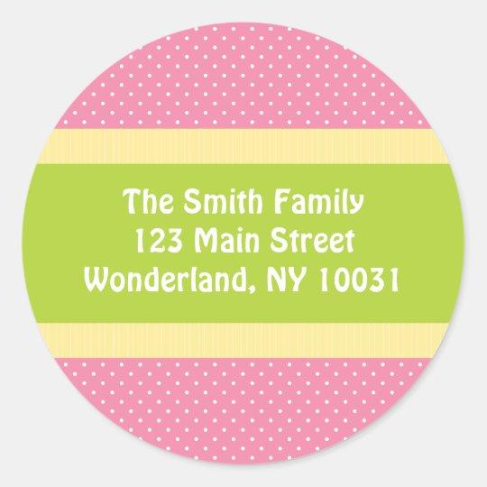 Baby Shower Address Label - Pink/Green