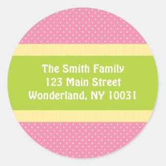 Baby Shower Address Label - Pink/Green Classic Round Sticker