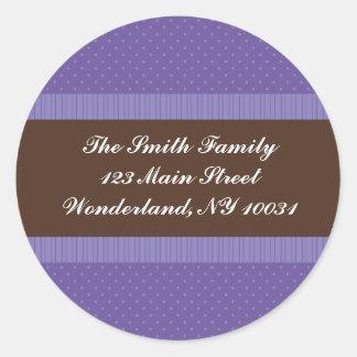Baby Shower Address Label - Purple and Brown Classic Round Sticker