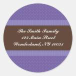 Baby Shower Address Label - Purple and Brown Round Stickers