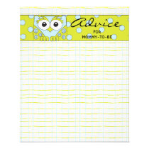 "Baby Shower Advice Card ""Blue Green Owl"""
