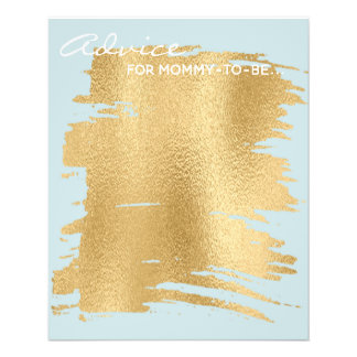 "Baby Shower Advice Card ""Classic Gold/Blue"""